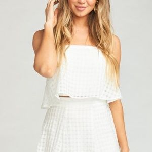 White checkered shoes me your mumu strapless crop